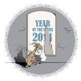 Vector goat, the symbol of 2015, the year the horse eats poster Stock Image