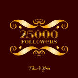 Vector Gold 25000 Followers Badge Over Brown Stock Images