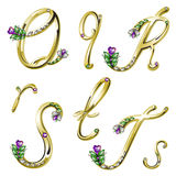 Vector Gold alphabet with gems letters Q,R,S,T Royalty Free Stock Photos