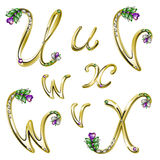Vector Gold alphabet with gems letters U,V,W,X Stock Photo