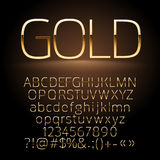 Vector gold alphabet letters, symbols, numbers Royalty Free Stock Photography