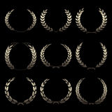 Vector gold award wreaths, laurel on black background Royalty Free Stock Photo