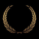 Vector gold award wreaths, laurel on black background vector Royalty Free Stock Photography