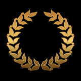 Vector gold award wreaths, laurel on black background. Vector Stock Images