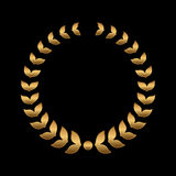 Vector gold award wreaths, laurel on black background. Vector Royalty Free Stock Images