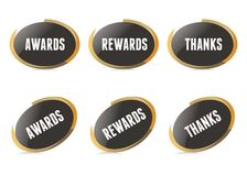 Vector Gold Awarding Pins Royalty Free Stock Images