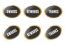 Vector Gold Awarding Pins. White Vector Gold Pins Illustration Royalty Free Stock Images
