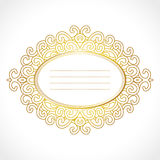 Vector gold baroque frame with exclusive horisontal oval ornament, decorative vintage design Stock Photos