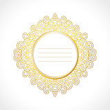 Vector gold baroque vintage frame with exclusive circle ornament, decorative design Stock Photos