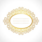 Vector gold baroque vintage frame with exclusive horisontal oval ornament, decorative design. Baroque frame with exclusive oval ornament, decorative vintage Royalty Free Stock Images