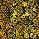 Vector Gold on Black Abstract Doodle Circles Seamless Pattern Background. Great for elegant  texture fabric, card Stock Images