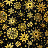 Vector Gold Black Abstract Doodle Stars Seamless Pattern Background. Great for elegant texture fabric, cards, wedding. Invitations, wallpaper. Textile pattern Royalty Free Stock Images