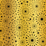Vector Gold Black Abstract Network Metallic Circles Seamless Pattern Background. Great for elegant gold texture fabric Stock Photography