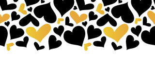 Vector Gold and Black Hearts Horizontal Seamless Pattern Border. Valentines day romantic background. Royalty Free Stock Photography