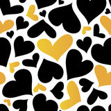 Vector Gold and Black Hearts Seamless pattern. Valentines day romantic background. Stock Photos