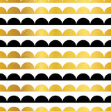 Vector Gold Black Stripes Scallops Stripes Seamless repeat Pattern Geometric Design. Great for nursery wallpaper Stock Image