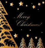 Vector Gold and black xmas card. Vector Gold and black christmas card with new year tree and stars ornament design royalty free illustration