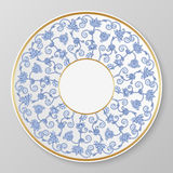 Vector gold and blue decorative plate. Stock Image