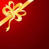 Vector gold bow, ribbon Stock Photos