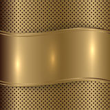 Vector gold brushed metallic plaque background Royalty Free Stock Images