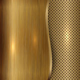 Vector gold brushed metallic plaque background Stock Images
