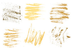 Vector gold charcoal hand drawing abstract on white background s. Et, golden chalk brush stroke design art, pastel gold, golden color grunge texture pattern Royalty Free Stock Images