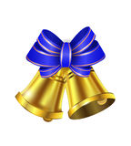 Vector Gold Christmas bells. With a bow and stipes Stock Photography