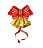 Vector Gold Christmas bells. With a bow and stipes Royalty Free Stock Photos