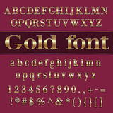 Vector gold coated alphabet letters and digits on Royalty Free Stock Image