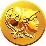 Vector Gold coin with Alexander the Great Stock Image
