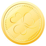 Vector gold coin with clover. Symbol of St. Patric Stock Image