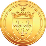 Vector Gold coin French ecu obverse. Obverse old French coin with the image of the shield crowns the coat of arms, crowned with the sun and the crown Stock Photo