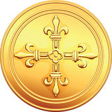 Vector gold coin French ecu reverse. Reverse old French gold coin with the image of a flowering crowns Cross Stock Photography