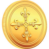 Vector gold coin French ecu reverse. Reverse old French gold coin with the image of a flowering crowns Cross Royalty Free Stock Image