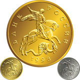 Vector gold coin, ruble money Rossian Royalty Free Stock Photography