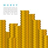 Vector Gold Coins Stack Isolated on a White Background with Text. Much Money Concept.  Royalty Free Stock Images