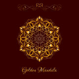 Vector Gold Color Mandala over dark brown Royalty Free Stock Images