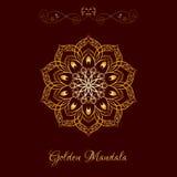 Vector Gold Color Mandala over dark brown Stock Photo