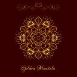 Vector Gold Color Mandala over dark brown Royalty Free Stock Photo