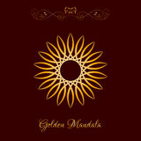 Vector Gold Color Sun Mandala over dark brown Royalty Free Stock Images