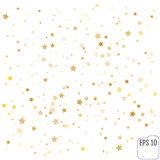Vector gold confetti background effect for luxury greeting rich. Card. Sparkling texture. Classic gold star confetti in explosion on white background Royalty Free Stock Images