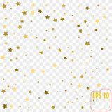 Vector gold confetti. Gold stars on white background. Vector gold confetti. Gold stars on white Royalty Free Stock Photography