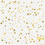 Vector gold confetti. Gold stars on white background. Vector gold confetti. Gold stars on white Royalty Free Stock Photos