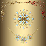 Vector gold corners and necklaces. Design vector ornate corners in gold. Gold necklace and pendant, jeweled for design and decor. Vintage gold ornaments precious Royalty Free Stock Image