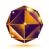 Vector gold 3d futuristic art sparkling object, radiance plastic Royalty Free Stock Image