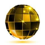 Vector gold 3d futuristic sparkling object, plastic Royalty Free Stock Image