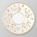 Vector gold decorative plate. Stock Image