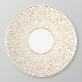 Vector gold decorative plate. Stock Photo
