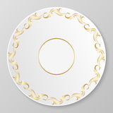 Vector gold decorative plate. Royalty Free Stock Photos