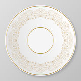 Vector gold decorative plate. Royalty Free Stock Images